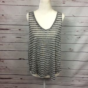 [Rag Poets] Charcoal Striped Knit Tank Top